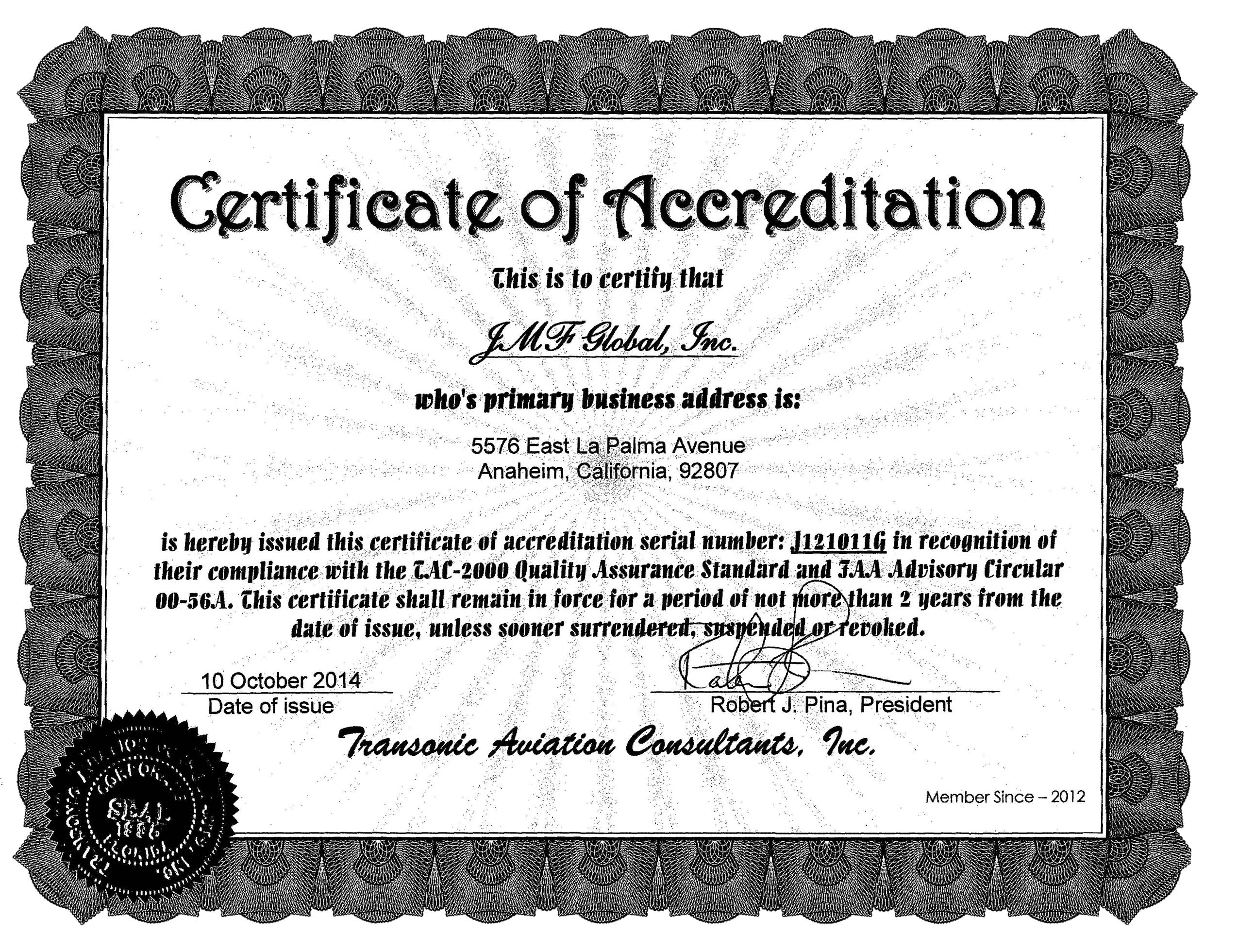 Certifications | JMF GLOBAL AVIATION PARTS & SERVICES